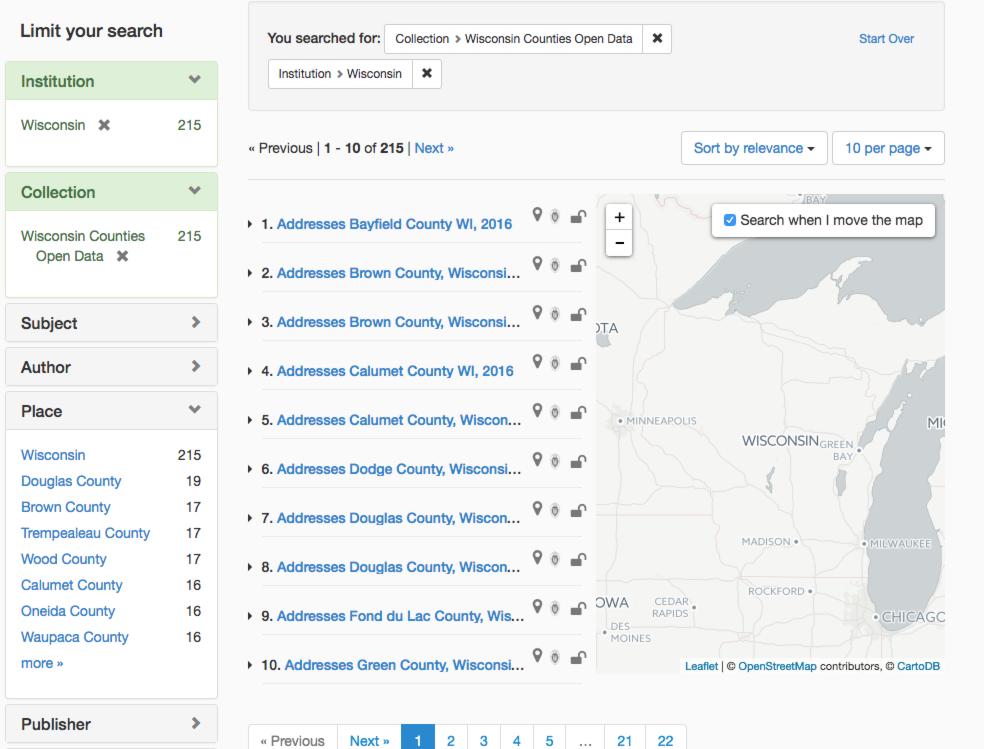 Wisconsin Counties Open Data screenshot